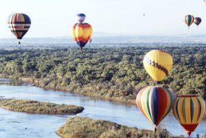Hot air balloons above the Rio Grande